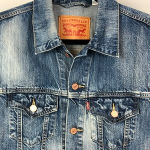 Levi's Denim Vest with Peace Bus patch on back